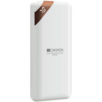Външна батерия /power bank/ Canyon CPBP10W, 10000 mAh, бяла, 2A/5V image