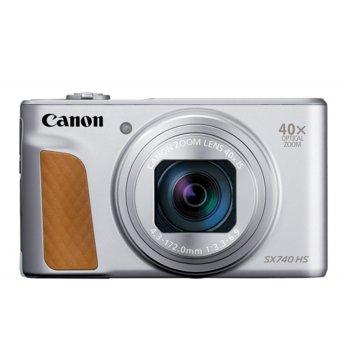 "Фотоапарат Canon PowerShot SX740 HS (сребрист), 40x оптично увеличение, 20.3Mpix, 3,0""(7,5 cm) TFT дисплей, Wi-Fi, Bluetooth, SD/SDHC/SDXC слот, USB Micro-B, HDMI Micro image"