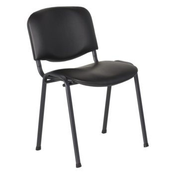 Посетителски стол Carmen 1131 LUX, еко кожа, прахово боядисан, черен image