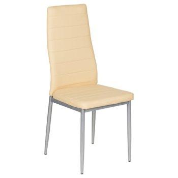 Трапезен стол Carmen 310, еко кожа, прахово боядисан, кремав image