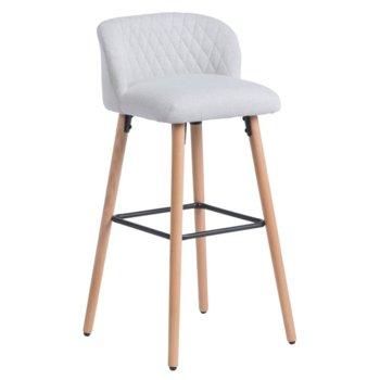 Бар стол Carmen 3084, дамаска, дървена база, шампанско image
