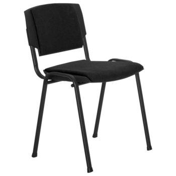 Посетителски стол Carmen Prizma LUX, дамаска, метални крака, черен image