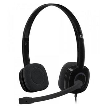 Слушалки Logitech H151, микрофон, 3.5мм жак, черни image