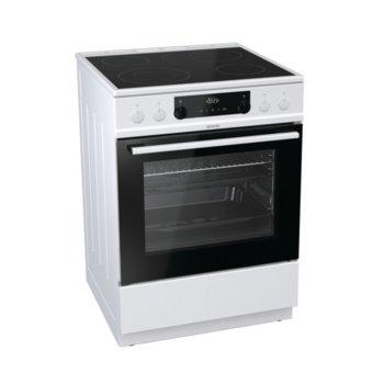 Готварска печка Gorenje EC6352WPA, клас А, 4 стъклокерамични нагревателни зони, 67 л. обем, AquaClean почистване, бяла image