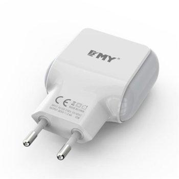 Зарядно устройство EMY MY-220, 5V/2.4A, бял, + Micro USB кабел, с 2 USB изход за Android и iOS устройства  image
