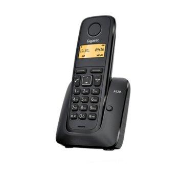 Безжичен телефон Gigaset A120,течнокристален черно-бял дисплей, черен image