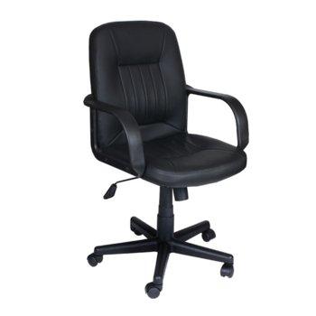 Офис стол Carmen 6075, еко кожа, подлакътници, газов амортисьор, регулируем люлеещ механизъм, черен image