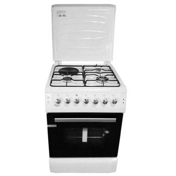 Готварска печка Zephyr ZP 1441 1E60F, три газови и един електрически котлон, 58 л. обем на фурната, таймер 90 мин, чекмедже, бял image
