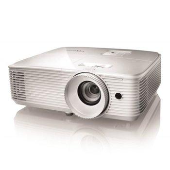 Проектор Optoma EH335, DLP, 3D, Full HD (1920x1080), 20 000:1, 3600 lm, HDMI, VGA, USB, RJ-45, бял image