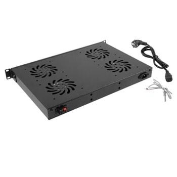"""Вентилаторен блок Lanberg AK-1503-B, за 19"""" шкаф, 4 вентилатора, черен image"""