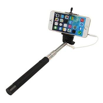 Жичен селфи стик с бутон за снимки за мобилни телефони с Android и iOS, черен, разтегателен image