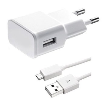 Зарядно устройство от контакт към 1 x USB А(ж), 5V/2A, 220V, бяло, с кабел от USB A(м) към Micro USB(м), 1m image