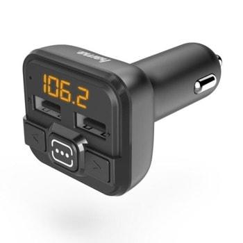 FM трансмитер Hama 14163, от 87.6 MHz до 107.9 MHz, AUX, 2x USB, черен image