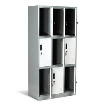 Гардероб Carmen CR-1244 J LUX, 9 бр. шкафове, метален, сив image