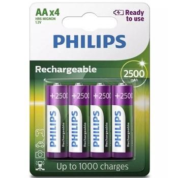 Акумулаторна батерия Philips Rechargeable R6B4RTU25/10, AA, 1.2V, 2500mAh, NiMH, 4бр.  image