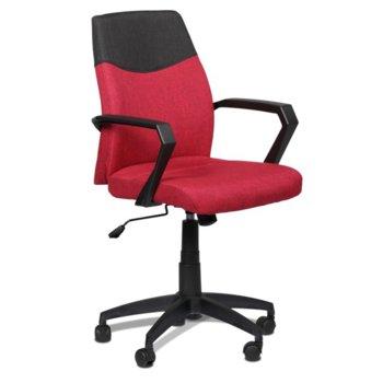 Офис стол Carmen 6002, дамаска, подлакътници, регулируем люлеещ механизъм, газов амортиьор, червен image