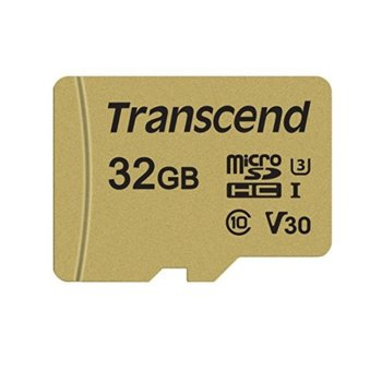 Карта памет 32GB microSDHC, с SD адаптер, Transcend 500S, Class 10 UHS-I U3, скорост на четене 95MB/s, скорост на запис 60MB/s image