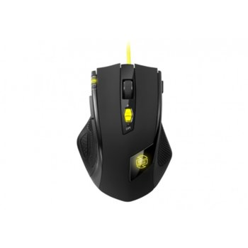 Мишка Sharkoon SHARK Zone M51+, оптична (8200dpi), 11 бутона, USB, черна с жълти части image