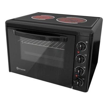 Готварска печка мини Елдом 201VFEN-NEW, клас А, 38л. обем на фурната, емайлиран работен плот, вградено осветление на фурната, 3100 W, черна image