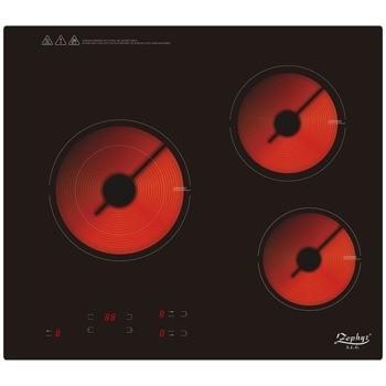 Стъклокерамичен плот за вграждане Zephyr ZP 1445 IR3, 3 нагревателни зони, инфрачервен нагревател, 9 степени на мощност, независим таймер, защита за деца, защита от прекомерно нагряване, защита от високо или ниско напрежение, 5200W, черен image