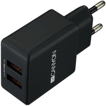 Зарядно устройство (адаптер) Canyon CNE-CHA03B, 2x USB A(ж), 5V, 2.1А, черно image