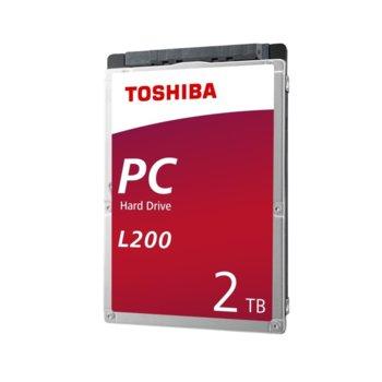 """Твърд диск 2TB Toshiba L200, SATA 6Gb/s, 5400 rpm, 128MB, 2.5"""" (6.35cm) image"""