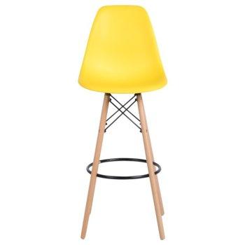 Бар стол Carmen 3079, полипропилен, дървена база, жълт image