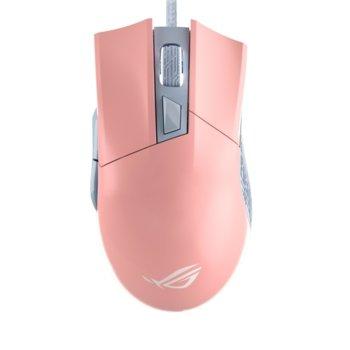 Мишка Asus Rog Gladius II Origin PNK LTD, оптична (12000 dpi), USB, геймърска, розова image
