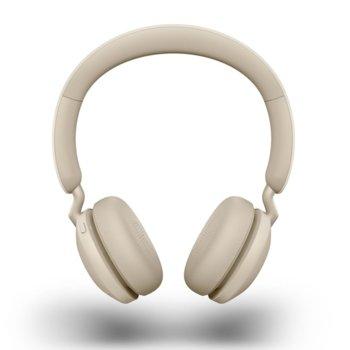 Слушалки Jabra Elite 45h (100-91800001-60), безжични, микрофон, Bluetooth, USB, до 50 часа време на работа, бежови image