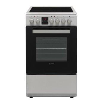 Готварска печка Sharp KF-56FVDD22IM-CH, енергиен клас A, 4 нагревателни зони, 50л. обем, 8 функции, цифров таймер, инокс image