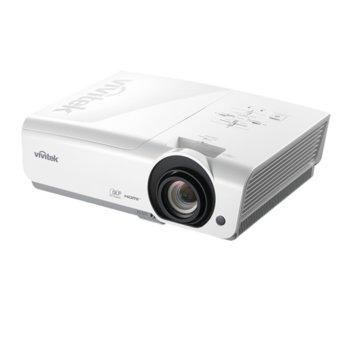 Проектор Vivitek DH976-WT, DLP, 3D Ready, Full HD (1920x1080), 15000:1, 4800 lm, 2x HDMI, Display Port, 2x VGA, RJ-45, USB, бял image