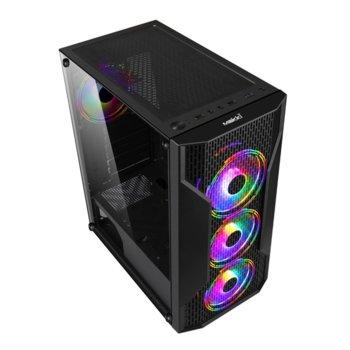 Кутия Makki F09-RGB-3F, ATX/Micro ATX/Mini ITX, 1x USB 3.0, 2x USB 2.0, черна, без захранване image