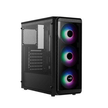 Кутия Aerocool SI-5200 Frost RGB (SI-5200-RGB-A-BK), ATX, 1 x USB 3.0, черна, без захранване image