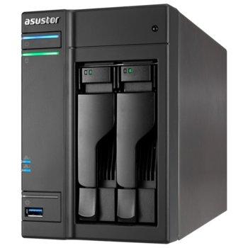 """Мрежови диск (NAS) Asustor AS6302T, двуядрен Intel Celeron J3355 2.0/2.5GHz, без твърд диск(2x SATA3/2.5""""/3.5""""/SSD), 2GB DDR3L RAM, 2x Lan1000, 1x HDMI, 4x USB (3x Type-A, 1x Type-C) image"""