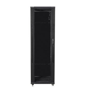 """Комуникационен шкаф Lanberg FF01-8042-12B, 19"""", 42U, 800 x 1000 x 2047.5, стъклена врата, черен image"""
