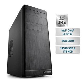 """Настолен компютър PC """"Office 2"""", четириядрен Comet Lake Intel Core i3-10100 3.6/4.3 GHz, 8GB DDR4, 240GB SSD & 1TB HDD, 2x USB 3.2 Gen1, Free DOS image"""
