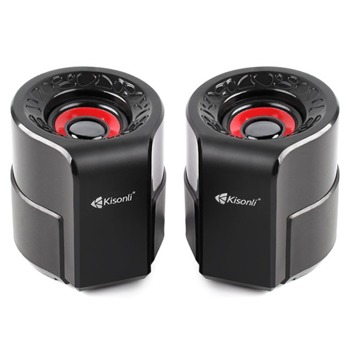 Тонколони Kisonli A-909, 2.0, 6W, AUX, черни, USB захранване image
