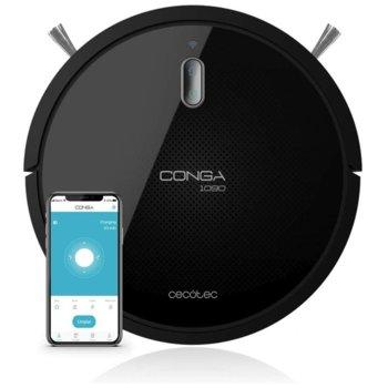 Прахосмукачка робот Cecotec Conga 1090 Connected, робот, безжична, 0.5 l капацитет на контейнера, 0.3 l резервоар за вода, 6 програми, 2600 mAh батерия, до 160 минути време на работа, iTech Smart 2.0 технология, система Turbo Clean Carpet, черна image
