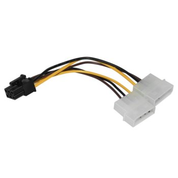 Захранващ кабел Makki MAKKI-CE313-0.15m, от PCIe 6pin(ж) към 2x Molex 4pin(м), 0.15m image