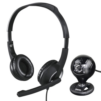 Комплект уеб камера със слушалки Hama PC Office Streaming Set HS-P150 + C-200 (139998), микрофон, 1280x720/30fps, подплатени наушници, LED осветление, затворен обектив, AUX, USB, черни image