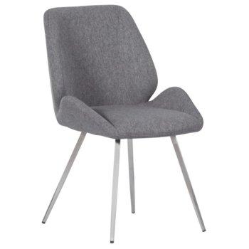 Трапезен стол Carmen Kielce, до 100кг. макс. тегло, дамаска, метална база, сив image