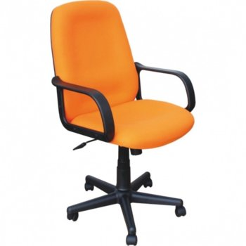 Работен стол Verona, с подлакътници, дамаска, ергономична облегалка, оранжев image