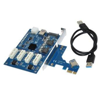 Контролер/екстендер Makki MAKKI-MINING-PCIE-4X-v005, от PCI-E x1 към 4x PCI-E x1 през USB 3.0 кабел, за добив на криптовалути image