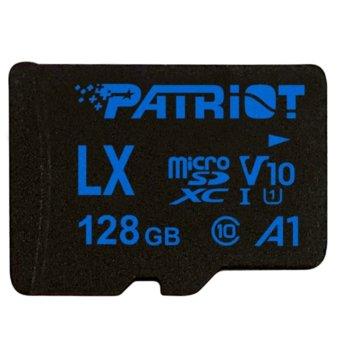 Карта памет 128GB microSDXC с адаптер, Patriot LX Series (PSF128GLX11MCX), Class 10, скорост на четене 90MB/s, скорост на запис 90MB/s image