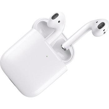 Слушалки Apple AirPods 2, безжични, микрофон, с включено безжично зарядно, бели image