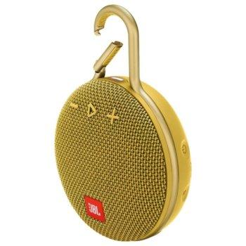 Тонколона JBL Clip 3, 1.0, 3W RMS, безжична, 3.5mm jack/Bluetooth, жълта, микрофон, IPX7, до 10 часа работа image