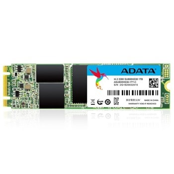 Памет SSD 1TB A-Data SU800, SATA 6Gb/s, M.2 (2280), скорост на четене 560MB/s, скорост на запис 520MB/s, TLC image