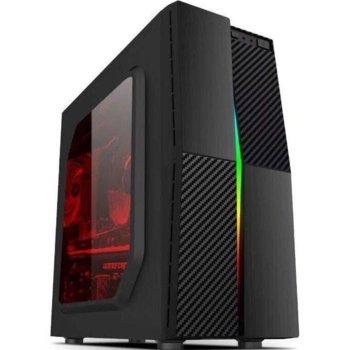 Кутия Estillo 1609 RGB, ATX/Mini ITX, 2x USB 2.0, прозорец, черна, без захранване image