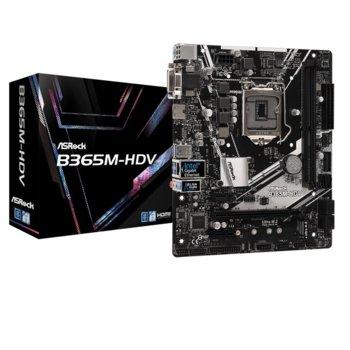 Дънна платка AsRock B365M-HDV, B365, LGA1151, DDR4, PCI-Е (HDMI&DP)(VGA&DVI-D&HDMI), 6x SATA 6Gb/s, 1x M.2 connector, USB 3.1 Gen 1, Micro ATX image