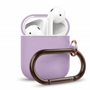 Калъф за слушалки Elago Hang Silicone Case EAPSC-HANG-LV, за Apple AirPods, силиконов, лилав image